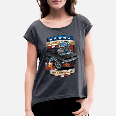 Muscle American Muscle Patriotic Muscle Car Cartoon - Women's Rolled Sleeve T-Shirt