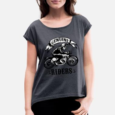 Motorcycle Rider In Black Genuine Riders Motorcycle - Women's Roll Cuff T-Shirt