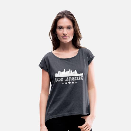 City T-Shirts - Retro Los Angeles Skyline - Women's Rolled Sleeve T-Shirt navy heather