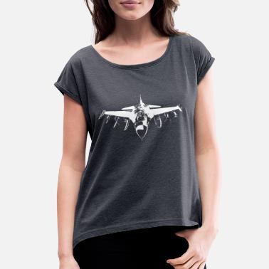 Fighter Jet Fighter jet pilot airforce - Women's Rolled Sleeve T-Shirt
