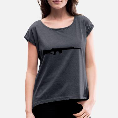 Guns Vector Vector Gun Silhouette - Women's Roll Cuff T-Shirt