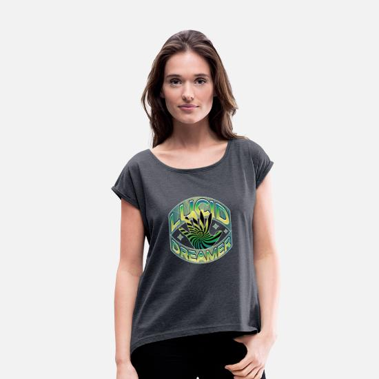 Green T-Shirts - Lucid Dreamer - Women's Rolled Sleeve T-Shirt navy heather