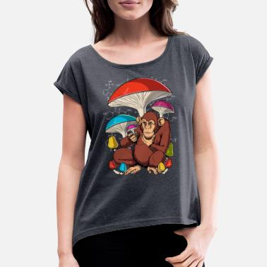 Magic Psychedelic Magic Mushrooms Psylocibin Festival - Women's Rolled Sleeve T-Shirt