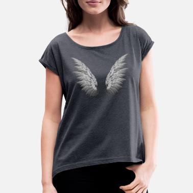 Adult Angels Angel wings adult - Women's Roll Cuff T-Shirt