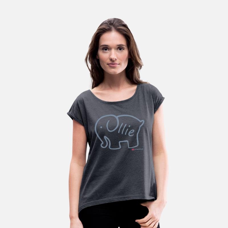 Ollie T-Shirts - Olliephant Logo - Women's Rolled Sleeve T-Shirt navy heather