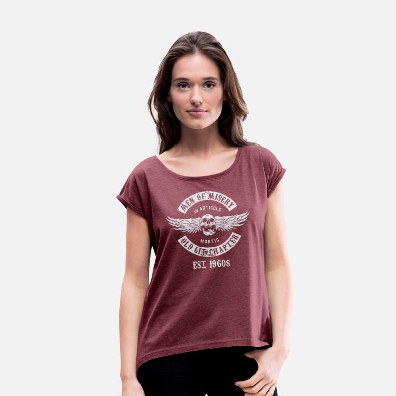 1f3457a518a Men Of Misery Established 1960s Women's Roll Cuff T-Shirt - heather burgundy