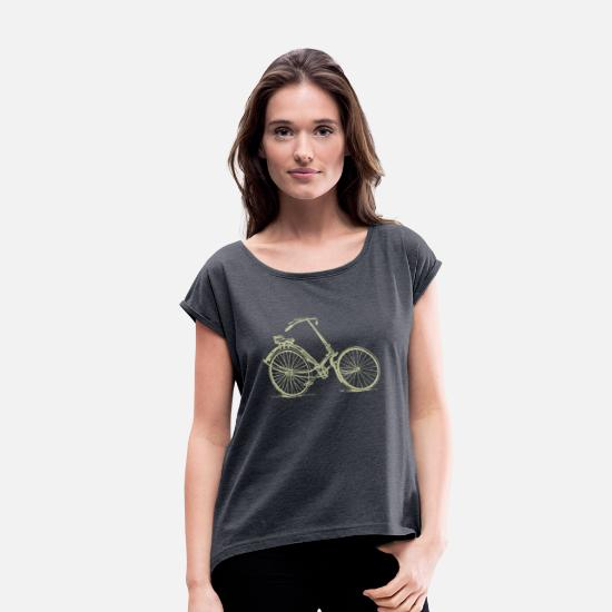 Bicycle T-Shirts - Vintage Antique Bicycle - Women's Rolled Sleeve T-Shirt navy heather