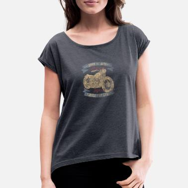 Motorcycle Logo Vintage Motorcycle logo - Women's Roll Cuff T-Shirt