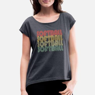 Fastpitch Softball Vintage Design - Women's Rolled Sleeve T-Shirt