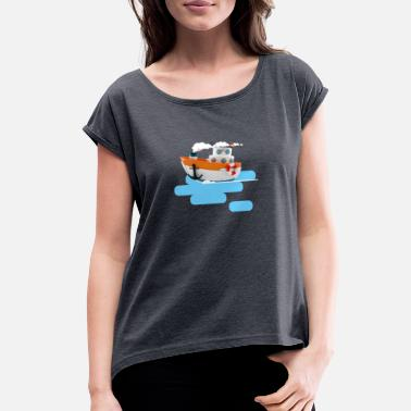 Tug Tug boat 3d illustration - Women's Rolled Sleeve T-Shirt