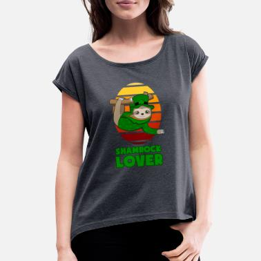 Happy Childrens Day St Patricks Day Shamrock Lover Sloth gift - Women's Rolled Sleeve T-Shirt