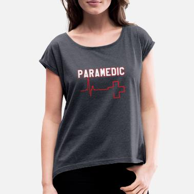 Flight Paramedic Heart Gift - Women's Rolled Sleeve T-Shirt