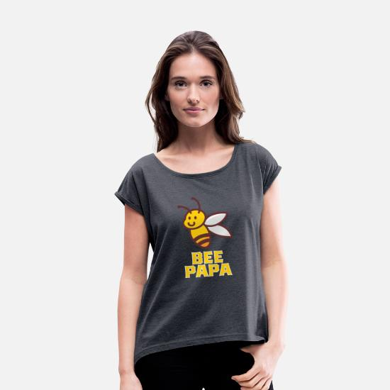 Bee T-Shirts - funny bee papa shirt - Women's Rolled Sleeve T-Shirt navy heather