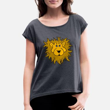 Lion-head Lion head of the lion - Women's Roll Cuff T-Shirt