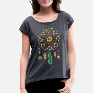 Native American Beaded Dreamcatcher - Women's Rolled Sleeve T-Shirt