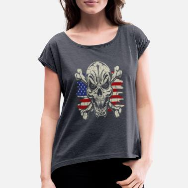 9c5acc91 Usa Rebel Flag Skull Crossbones USA Flag - Women's Rolled Sleeve T