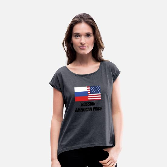 Russian T-Shirts - Russian American Pride - Women's Rolled Sleeve T-Shirt navy heather