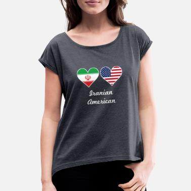 Iranian American Iranian American Flag Hearts - Women's Rolled Sleeve T-Shirt