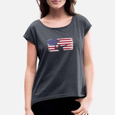 Volleyball American Flag American Flag Volleyball Player - Women's Roll Cuff T-Shirt