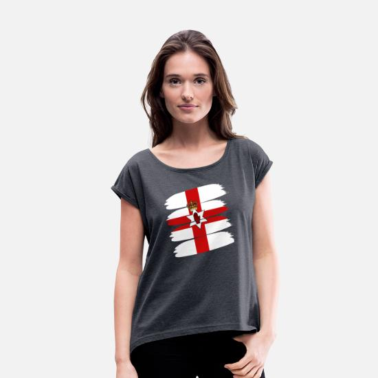 Symbol  T-Shirts - Paint Flag of Northern Ireland - Women's Rolled Sleeve T-Shirt navy heather