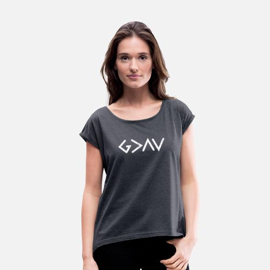 God T-Shirts - God Is Greater Than The Highs and Lows Symbols - Women's Rolled Sleeve T-Shirt navy heather