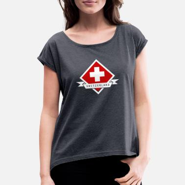 Red Switzerland Switzerland Swiss Cross on Red Diamond - Women's Roll Cuff T-Shirt