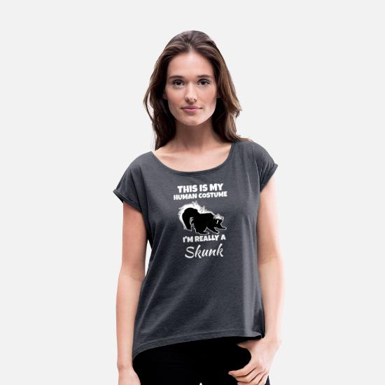 Stinker T-Shirts - Skunk - Women's Rolled Sleeve T-Shirt navy heather