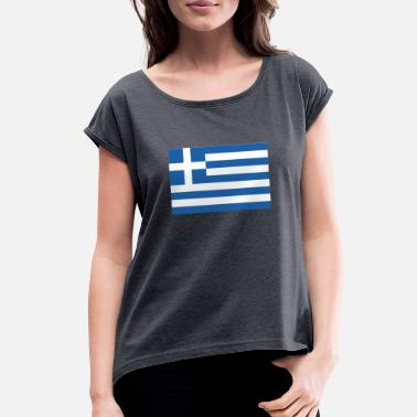 Greece Flag of Greece, Greece flag, flag Greece - Women's Rolled Sleeve T-Shirt