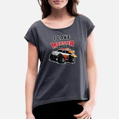 Rim I Love Monster T=rucks Driving Rough Road Car - Women's Rolled Sleeve T-Shirt