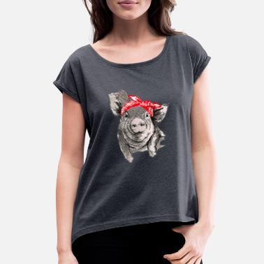 0a76a507f Womens Pig Cute Pig with bandana shirt for girls and women - Women'
