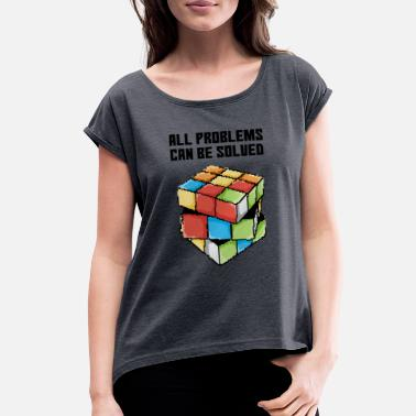 Cube Pixel art rubik - Women's Rolled Sleeve T-Shirt