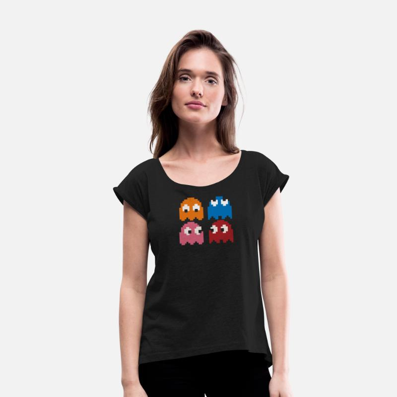 d5ebe789 Cool Retro 80s PACMAN GHOSTS Video Games Women's Rolled Sleeve T-Shirt |  Spreadshirt