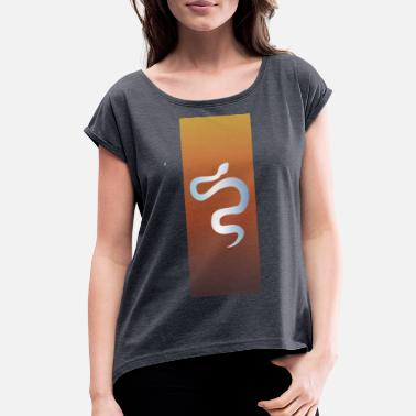 Clip Art Snake in Orange - Women's Rolled Sleeve T-Shirt