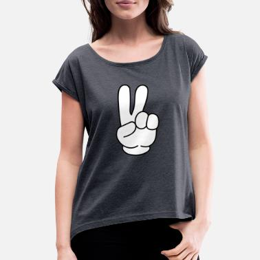 Global Peace peace, peace sign, global peace - Women's Roll Cuff T-Shirt