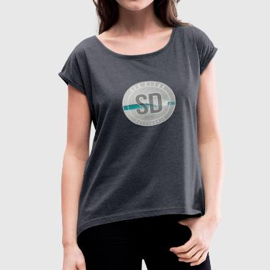Beach Break - San Diego Surf Art - Women's Roll Cuff T-Shirt