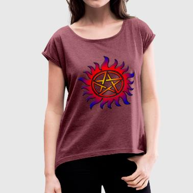 Anti Possession Symbol Sun Fire - Women's Roll Cuff T-Shirt