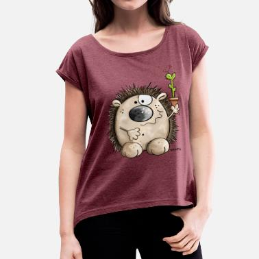 Hedgehog Hedgehog with a little cactus - Gift - Cute  - Women's Roll Cuff T-Shirt