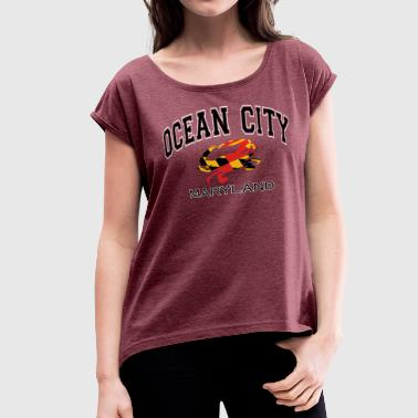 Ocean City Maryland Crab - Women's Roll Cuff T-Shirt