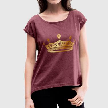 Rap Draw golden crown the king of rap drawing graphic arts - Women's Roll Cuff T-Shirt