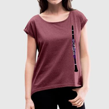 Concert Draw Clarinet Drawing - Women's Roll Cuff T-Shirt