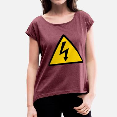 Flash Energy electric flash lite signs - Women's Roll Cuff T-Shirt