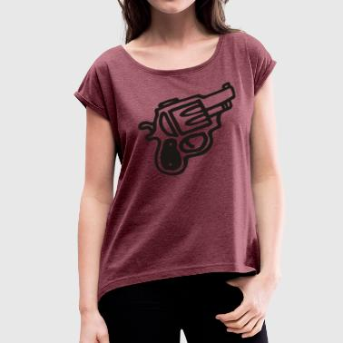 cartoon gun t shirt - Women's Roll Cuff T-Shirt