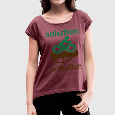 Co2 Pollution solution pollution - Women's Roll Cuff T-Shirt
