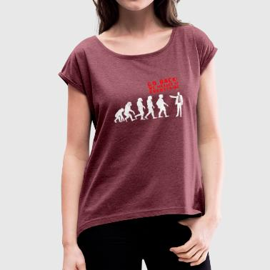 Evolution Funny Messed Up Evolution - Women's Roll Cuff T-Shirt
