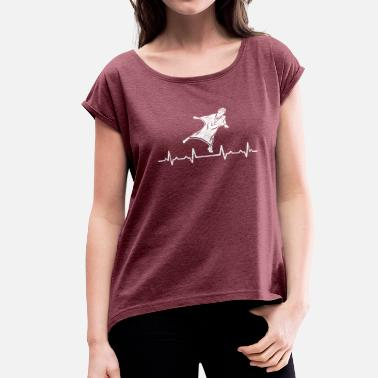 Wingsuit Flying Wingsuit Flying Sport Heartbeats - Women's Roll Cuff T-Shirt