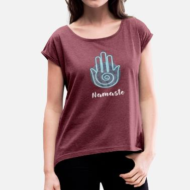 India Yoga yoga namaste hand meditation india fatima sign LOL - Women's Roll Cuff T-Shirt