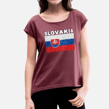 Slovakia Slovakia Flag Stained Glass Effect Deluxe - Women's Roll Cuff T-Shirt