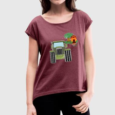 Barn Farm Baby tractor farming vehicle barn gift idea - Women's Roll Cuff T-Shirt