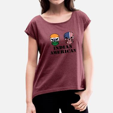 American Indian Skull Indian American Flag Skulls - Women's Roll Cuff T-Shirt