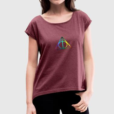 Deathly Hallows Symbol deathly hallow - Women's Roll Cuff T-Shirt